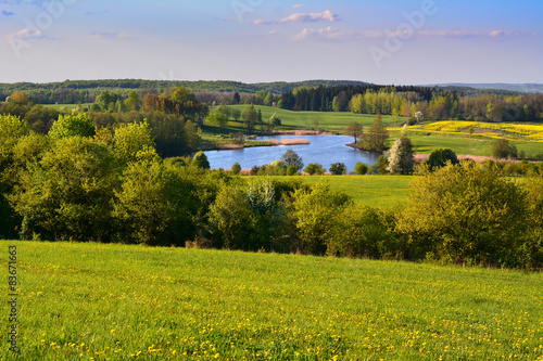 Colorful spring landscape with lake