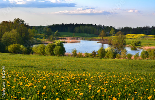 Obrazy Polska colorful-spring-landscape-with-lake
