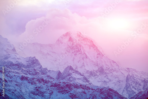 Canvas Prints Light pink sunrise in the mountains