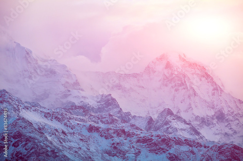 Foto op Plexiglas Purper sunrise in the mountains