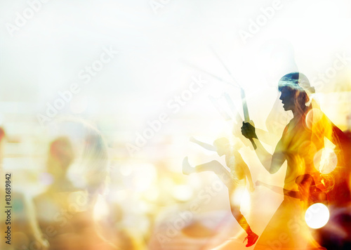 Double exposure, woman fighting martial arts.