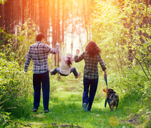 Happy Family Walking With Dog ...
