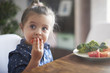 canvas print picture - Eating vegetables by child make them healthier