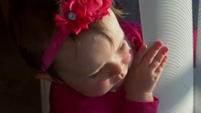 Adorable Little Girl Plays With Blinds At Window, 4K