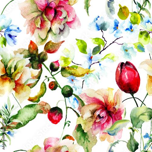 Cotton fabric Decorative wild flowers