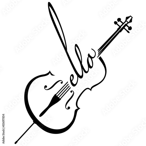 Cello als Logotype Fotobehang