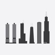 Collection of Icons of Five Famous Skyscrapers