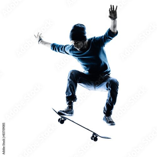 man skateboarder skateboarding silhouette