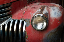 Vintage Rusty Red Truck Car With A New Headlight, Soft Focus