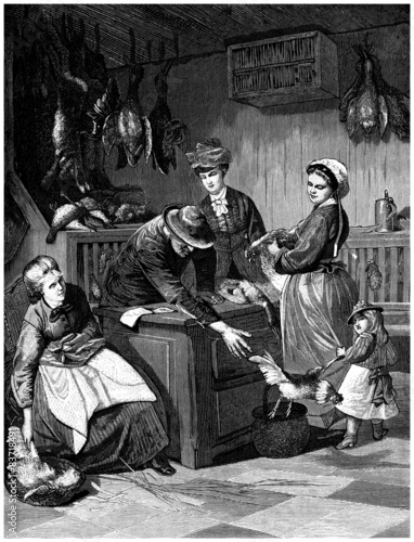 Valokuva  Buying Poultry - Acheter des Volailles - 19th century