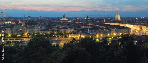 Fotobehang Lavendel Panoramic postcard of Turin at dusk