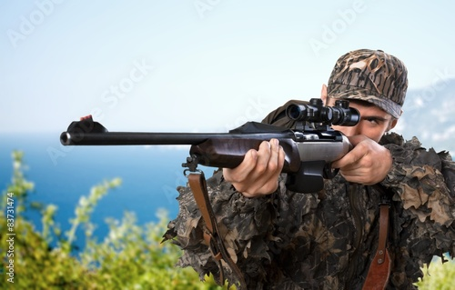 Poster Chasse Hunter, Hunting, Rifle.