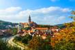 Cityscape of Cesky Krumlov in autumn