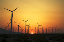 Sunset Over The Wind Farm