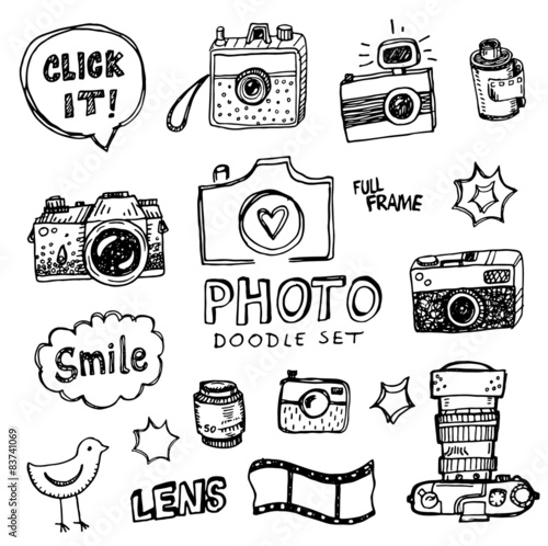 Fototapeta Hand drawn vector illustration set of photography sign and symbol doodles elements. obraz