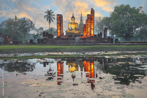 Fotografie, Obraz  Socha Buddhy v Wat Mahathat v Sukhothai Historický park, Thail