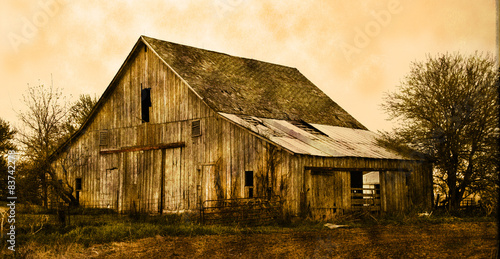 Old farm barn in sepia #83742278