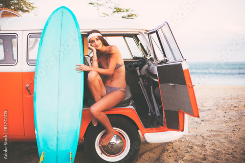 Photo  Surfer Girl Beach Lifestyle