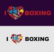 I love boxing. Symbol of the heart of boxing gear: helmet, short