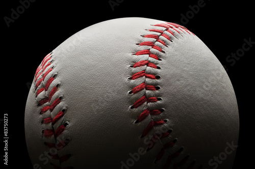Photo  Baseball on black background