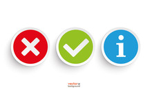 Yes No Info Round Paper Icons