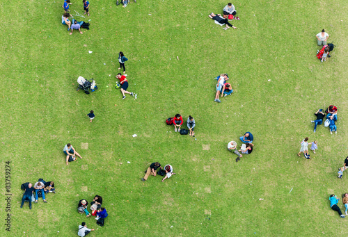 Valokuva  Ninety degrees view of people relaxing on a meadow