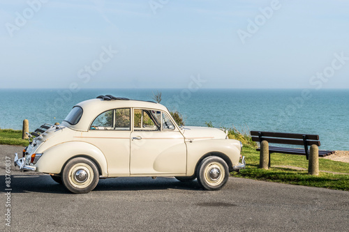 Morris Minor at the seaside.