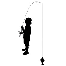 Fisherman Boy Silhouette Vector Illustration Isolated On White