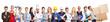Leinwanddruck Bild - Panorama mit Gruppe von Leuten verschiedener Berufe