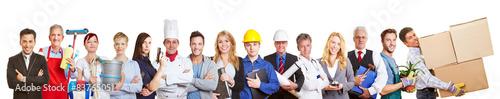 Fotografía  Panorama mit Gruppe von Leuten verschiedener Berufe