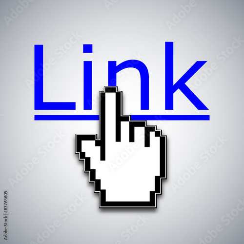 Fotografia  Mouse cursor clicks the link