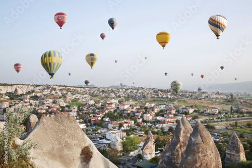 Poster Montgolfière / Dirigeable Cappadocia, Turkey.Balloon flight over the rocks of Goremy
