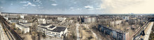 Panorama Of Abandoned Chernobyl From Rooftop On Nuclear Power Pl