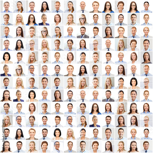 Fotografie, Obraz  collage with many business people portraits