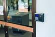Security door card scan in soft light