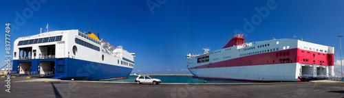 Canvas Print Two passenger ferries in harbor, Crete, Greece.