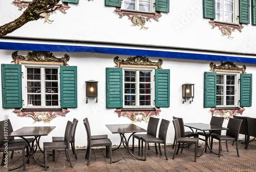 Stampa su Tela Street cafeteria in Oberammergau, Germany