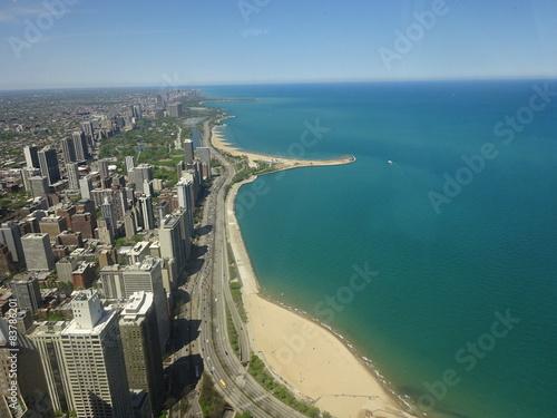 Poster Chicago Plage du lac Michigan