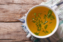 Meat Broth With Parsley Closeu...