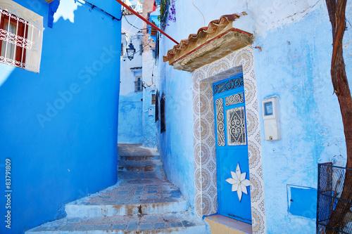 Foto op Plexiglas Trappen Street in Chefchaouen, Morocco