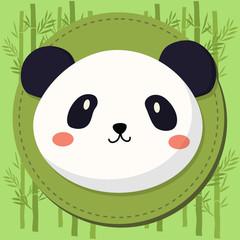 FototapetaCute Panda Head Cartoon in Green Bamboo Background