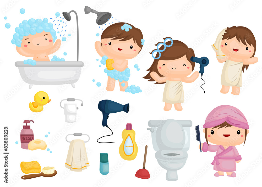 Fototapeta Bath Time Vector Set
