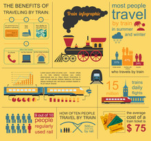 Railway Infographic. Set Eleme...