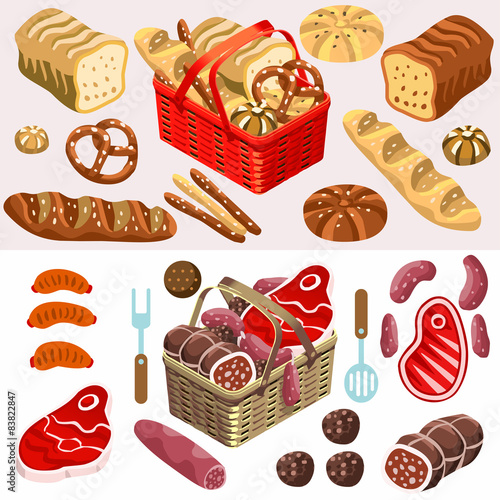 Photo  Food Set Meat and Bread Isometric