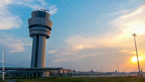 Aluminium Prints Airport Airport control tower at sunset in Sofia, Bulgaria