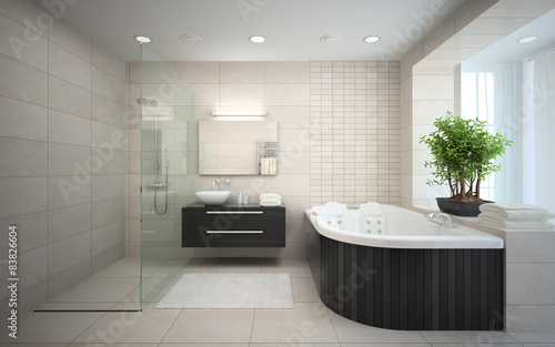 Valokuva  Interior of the modern design  bedroom with jacuzzi 3D rendering