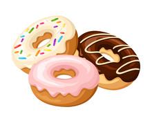 Three Donuts. Vector Illustration.