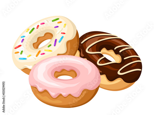 Fotografía Three donuts. Vector illustration.