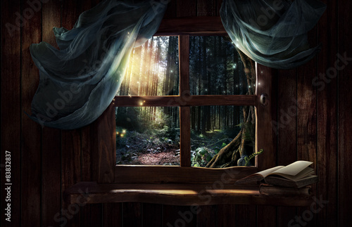 Fotografie, Tablou Magic window with fairy forest
