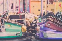 Bumper Cars In The Amusement Park...